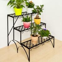 Etagère de jardin pour plantes escalier en fer 3 niveaux env. 60x60x60cm