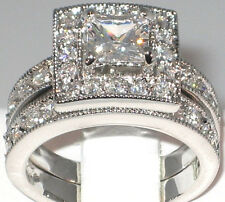 Antique 2.33 Ct. Princess Cut Cubic Zirconia Engagement Wedding Ring Set- SIZE 7