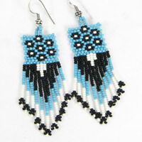 NEW HANDMADE BLUE WHITE BLACK SEED BEADED NATIVE STYLE HOOK FASHION EARRINGS