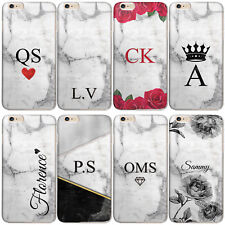 PERSONALISED INITIALS PHONE CASE MARBLE HARD CASE COVER FOR SAMSUNG S7/S8/S9 +
