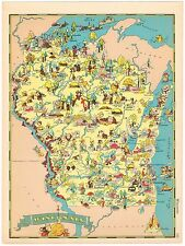 GENUINE RUTH TAYLOR VINTAGE MAP CARTOON  PICTORIAL 1935 WISCONSIN GREEN BAY