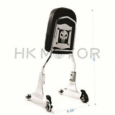 Detachable Backrest Sissy Bar Chrome Skull For 84-99 Harley Softail FXSTC FLSTC