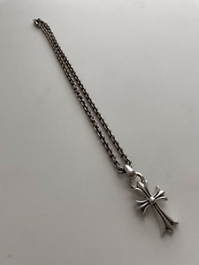 Chrome Hearts CH Cross W/Vail Pendant & Paper Chain 20 Inch Silver Necklace