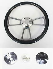 "Steering Wheel Carbon Fiber & Billet Shallow Dish 14"" 65-69 Mustang Plain Center"