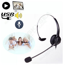 Stereo USB Headset Earphone Earpiece w/Microphone Fr PC Computer Laptop Operator