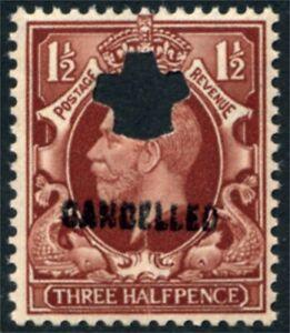 1934 KGV Photogravure Inter. Format 1½d Overprinted CANCELLED Type 33P SG N52v