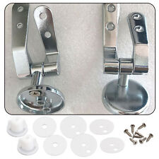 Pair of Toilet Chrome Hinges With Fittings Toilet Seat Replacement Mountings