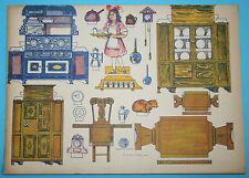 sehr alte Puppenküche zum Ausschneiden und Falten aus Pappe