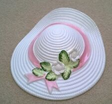 Wall Hanging Ceramic Hat Vase white & pink with floral decoration