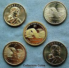 2010 Five Coin Sacagawea Native American PDS Pos A&B Set (Mint Rolls/Proof Sets)