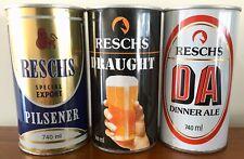 Reschs Pilsener. Draught & Dinner Ale. Large 740ml. Straight Steel.  Beer Cans.
