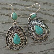 Tibet Silver Turquoise Dangle Earrings Double Teardrop Hook Pierced NEW