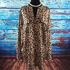 2X Calvin Klein Blouse Button Down Animal Print Split V-Neck Career Casual 24/26
