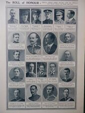 1914 ROLL OF HONOUR DUNSTERVILLE COTTRELL-DORMER TRIMMER MCMAHON LATTEY WW1 WWI