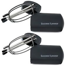 Reading Glasses 2 Pair Black and Gunmetal Readers Compact Folding Unisex
