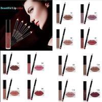 Long Lasting Waterproof Lip Liquid + Pencil Matte Lipstick Lip Gloss Makeup set
