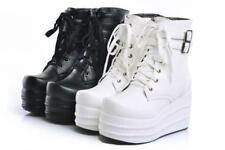 US womens goth lace up ankle boots platform wedge Fashion shoes Punk Buckle Q153