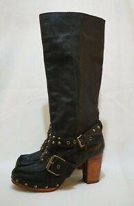 Size 9 Womens Black Leather 2x Buckles Brass Studs Wood Unit Platform Mid-Calf