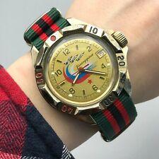 Russian Tricolor Flag VOSTOK Military Planes Analog KOMANDIRSKIE Wristwatch Date