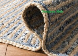 Rug Natural Denim Jute Rectangle Braided Floor Mat Handmade Reversible Area Rugs
