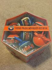 LIONEL TRAINS 14 CHRISTMAS ORNAMENTS WITH STORAGE BOX-NEW- 9-21011