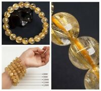 8mm Gold Natural Rutilated Quartz Round Crystal Beads Bracelet AAAAHigh quality