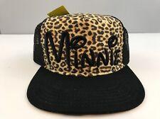 Disney Minnie Mouse Stitched Trucker Mesh Flat Bill Leopard Snapback Hat Cap New