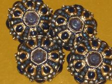 CHANEL 4  CC LOGO BLUE rhinestones BUTTONS NEW RARE 18 mm/ 3/4''   LOT 4