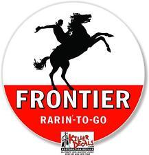 "15"" 1955-70 FRONTIER HORSE GASOLINE DECAL GAS OIL GAS PUMP SIGN lubester STICKER"