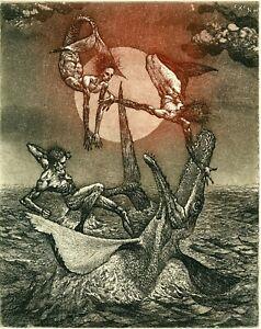 Robert Baramov, Original Surrealistic Etching Ex libris, Mermaid and Creature
