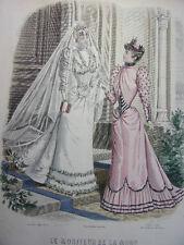 """45/ GRAVURE DE MODE """" Moniteur de la Mode Paris 1891 """".   Grand format 36x26"""