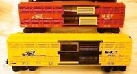 Lionel 2 Katy BiLevel MKT Stock Cars: 9725 Yel/Blk inNewBox+9707 Red/Yel C9noBox
