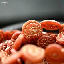 2 Slowly Does It - Czech Glass, Milky Salmon Pink, Metallic Gold, Snail Beads