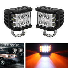 "2X 4"" 45W LED Work Light Bar Side Shooter Dual Color Waterproof Driving Offroad"