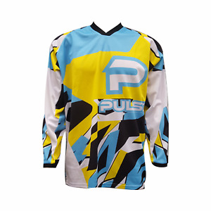 PULSE STORM KIDS YOUTH BLUE & YELLOW MOTOCROSS MX BMX MOUNTAIN BIKE JERSEY