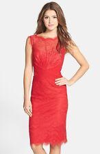 TADASHI Chantilly Lace Boatneck Sheath RED SIZE 18 # 222 NWT