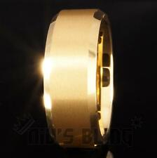 8MM Gold Silver Black CZ Brushed Tungsten Carbide Ring Wedding Band Mens Jewelry