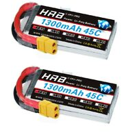 2xHRB Lipo Battery 7.4V 1300mAh 2S 45C 90C for FPV Airplane Race Drone 1/18 LOSI