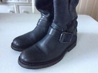 Harley Davidson Black Leather Buckle Logo Pull On Riding Boots Women's 7M