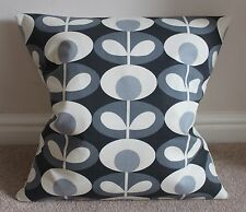 "OVAL FLOWER STEM CUSHION COVER IN COOL GREY 18 X 18"" HANDMADE"