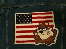 Tazmanian Devil Demin Jacket Leather Collar American Flag Adult Small