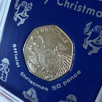 2008 Isle of Man Christmas Xmas Card Keepsake 50p Coin (BU) Gift in Display Case