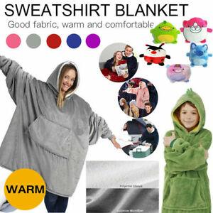 Super Soft Hoodie Comfy Blanket Sherpa Fleece Warm Hooded Sweatshirt Reversible[