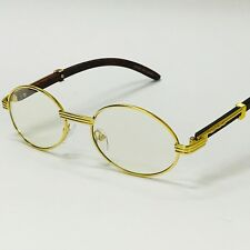 Gafas Lentes de Moda Sophisticated Migos Fashion Wood Clear Lens Oro Dorado Quav