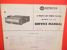 1969 HITACHI 8-TRACK CAR STEREO TAPE PLAYER FACTORY SERVICE MANUAL MODEL CS-113