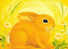 Jahreszeitentisch Kunstkarte Hase gelb Kinder Geburtstag Geburtstagskarte Karte