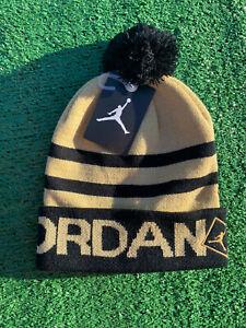Nike Air Jordan Pom Beanie Winter Hat Gold Black Youth Beanie 8/20 NWT