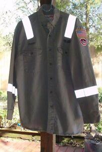 WALLS FR Flame Resistant WorkWear Gray Button Shirt LG Reg Bronco Oilfield