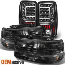Fit 00-06 Chevy Suburban Tahoe Black Headlights+Bumper+LED Tail Lights