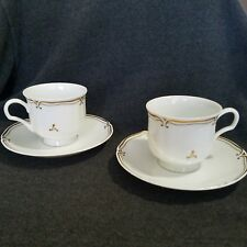 Mikasa EMBASSY L9309 Footed Cup and Saucer Set of 2 Gold Scrolls Scalloped